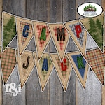 Camping Banner | Camping Birthday Banner | Camping Party Decorations | Camping Bunting | Lumberjack Banner | Plaid Flannel Banner |Printable