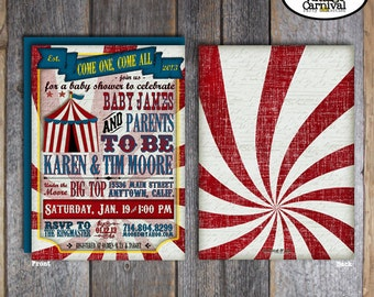 Carnival Baby Shower Invitation | Circus Baby Shower Invitation | Carnival Shower Invite | Circus Shower Invite | Address Labels | Printable