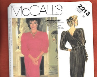 Vintage 1980's McCall's 2213 Cocktail Dress, Or Formal Evening Gown With Big Puffy Sleeves, And A Wrap Around Bodice, Size 10, UNCUT