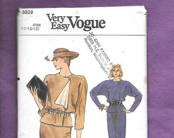 Vintage 1980'S Vogue 8829 Misses' Straight Skirt, And Top With Asymmetrical Closure, Long Or 3/4 Quarter Length Sleeves, Size 12-14-16
