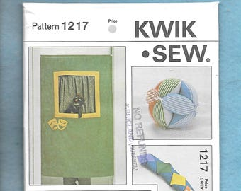 Vintage 1980's Retro Kwik Sew 1217 Puppets, Puppet Curtain, Baby Ball, And Learning Toy, Snake, UNCUT