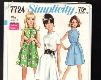 Mod 60's Simplicity 7724 Misses' Mini Tent Dress, With Stand Up Collar, Sleeveless, Or Short Sleeves, And A Self Fabric Sash, Size 12, UNCUT