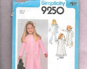 Vintage 70's Simplicity 9250 Girl's Nightgown, PJ's & Robe, Long Sleeves Button Front, Ruffled Hem, Or Shirt Tail Hem, Size 5, UNCUT