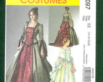 69a2d70781b7 McCall's 6097 Misses' Victorian Skirt, With Bustle and Detachable Train and  Top With Peplum Costume, Sizes 14 to 20, UNCUT
