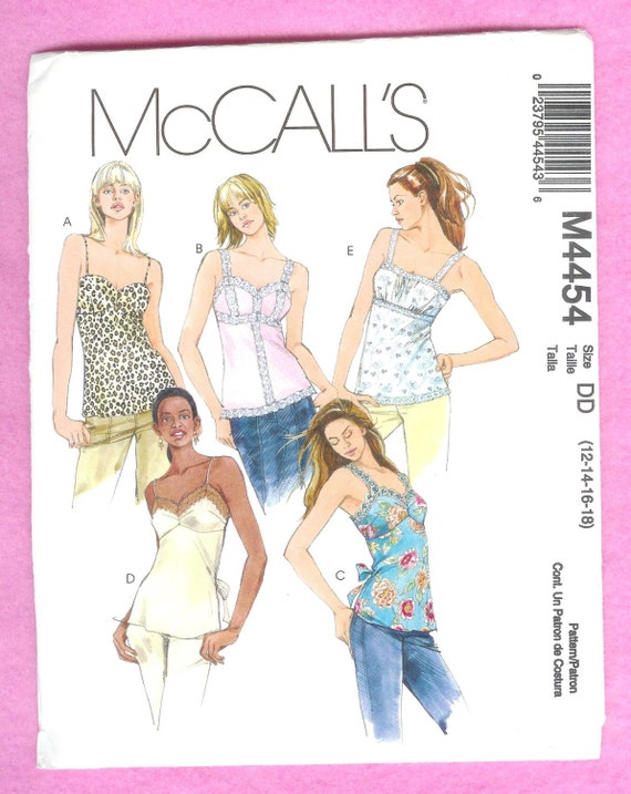 McCall\'s 4454 Misses\' Camisole Top With 5 Variations | Etsy