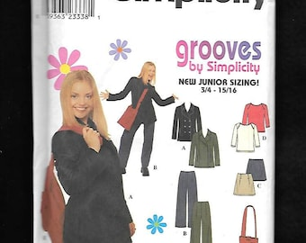Simplicity 8869 Junior Sized Skirt Top, Jacket, Pants, And A Shoulder Bag! Sizes 3-4 To 9-10, UNCUT