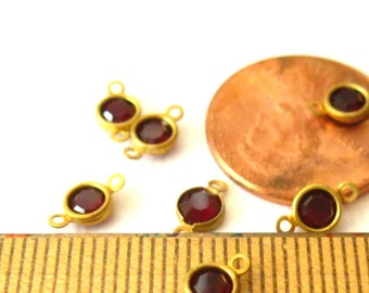 Faceted 10x14mm Garnet in Gold Toned Copper