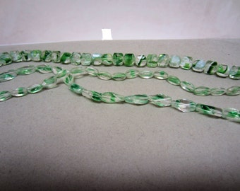 Bargain Beads: Three Shapes Bright Green Givre Glass Beads