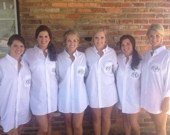 SALE Monogram Button Down, Monogrammed Bride Bridesmaids Shirts, Getting Ready Shirts, Bridemaid Monogrammed Shirts, Bridesmaid Shirts,