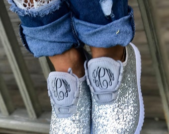 e37c00f0ac2a Glitter Bomb Sneakers  Glitter Kicks   Personalized Womens shoes   Rose  Gold Tennis Shoes   Glitter Shoes Monogrammed   Glitter Tennis Shoe