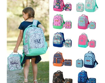 Monogram Backpack and Lunch Box Set Personalized Girls and Boys Backpack 3fc6768e81fb9