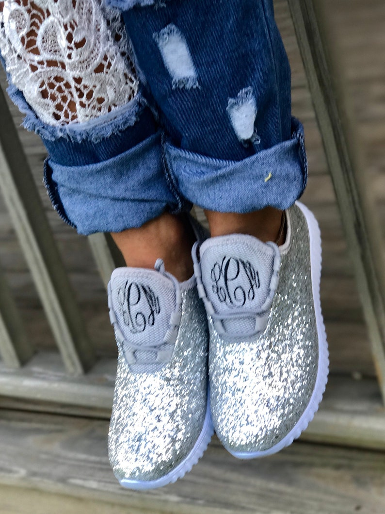104023556cf73 Glitter Bomb Sneakers /Glitter Kicks / Personalized Womens shoes / Rose  Gold Tennis Shoes / Glitter Shoes Monogrammed / Glitter Tennis Shoe