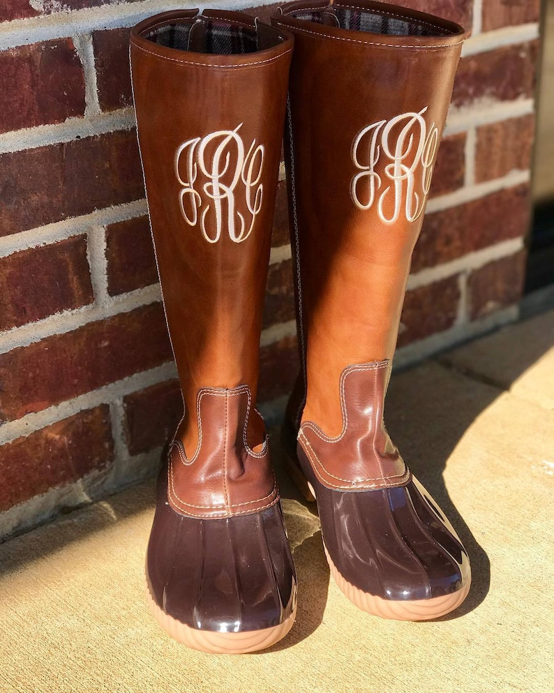 a02e80a87f5bf Monogram Duck Boots, Monogrammed Tall Duck Boots, Monogrammed Leather duck  Boots, Duck Boots, Monogram Rain Boots, Monogrammed Duck boots