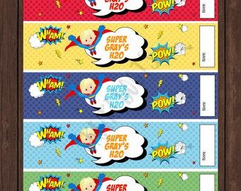 Superhero Comic Book Birthday Water Bottle Labels