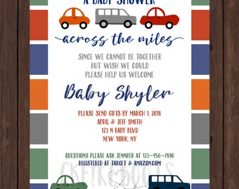 Long distance baby shower shower by mail etsy long distance baby shower across the miles car invite filmwisefo