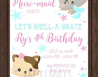 Meow maid Birthday Invite