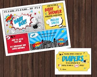 Superhero Comic Book Baby Shower Invite and Diaper Raffle Card