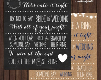bling ring bridal shower game sign custom colors available
