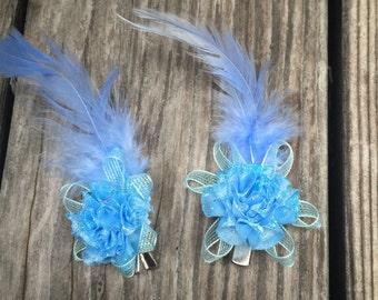 2 Blue Flower hair clip set ,  flower hair clip, Wedding Accessory,Hair accessory,shawl brooch.