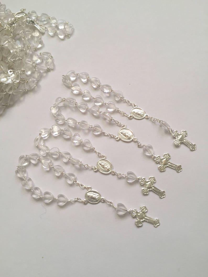 50 min rosaries and 50 pcs Organza bags jewel organza bag white color 4 x 6 organza bag favor bag