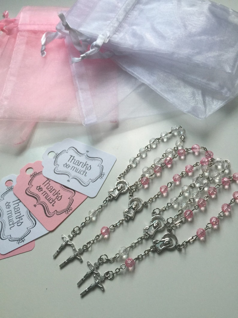 80 wedding favors,baptism favors 80 pcs Organza bags 4 x 6 white  and pink bag 80 white and pink rosaries favor and 80 white and pink tags