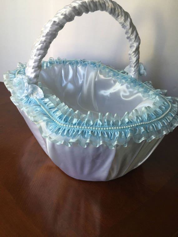 girl basket Large ivory basket Flower basket Large wedding basket,Wedding lace basket baptism favor basket Large Baptism Favor basket