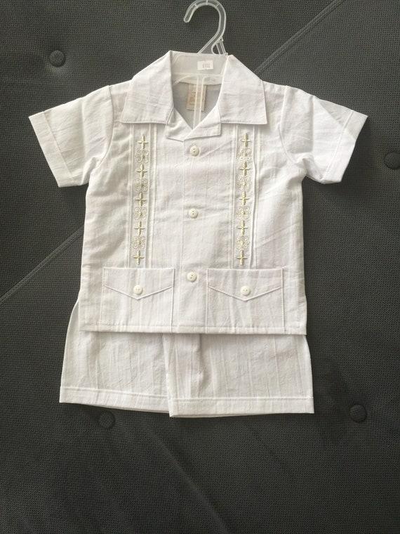 Boys Baby White Satin Guayavera Set Long Pants Christening Baptism Wedding Party