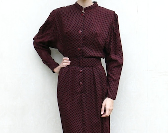 "SALE - Vintage secretary dress - ruby red polkadot . . . ""Like"" our fb page for 10% discount"
