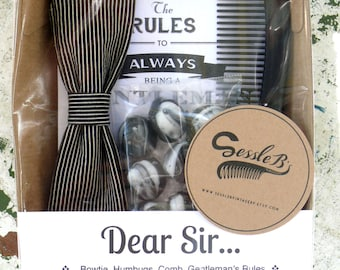 Unique gift pack for your gentleman - Handmade bow tie, Aniseed humbugs, Comb and Gentleman's Rules