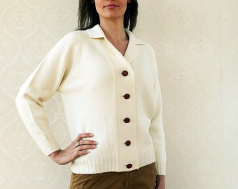 "Vintage collared knitted cardigan/sweater, small medium -  fresh cream . . . . . . . ""Like"" our fb page for 10% discount"