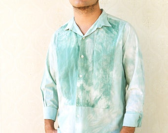 "Vintage mens tie die pleated breast cropped sleeve shirt - green . . . ""Like"" our fb page for 10% discount"