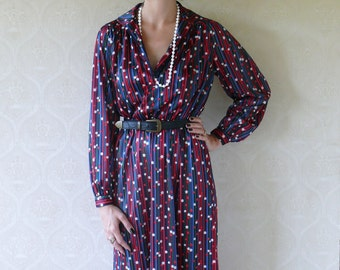 "SALE - Vintage stripes and floral dress, medium -  pink and blue . . . . . ""Like"" our fb page for 10% discount"