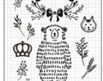 15 Piece Clear Stamps Bear Crown Bird Leaf DIY Transparent Stamp Silicone Seal Scrapbooking Craft Card Decorative Sheet