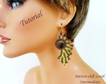 SUN BURST beaded earrings beading tutorial beadweaving pattern seed bead beadwork jewelry beadweaving tutorials beading pattern instructions