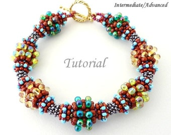 COLORFUL DEWDROPS beaded bracelet beading tutorial and pattern seed bead beadwork jewelry beadweaving tutorials beading pattern instructions