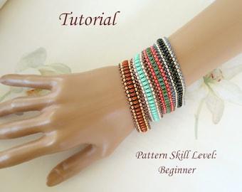 EASY twin or superduo beaded bracelet beading tutorial beadweaving pattern beadwork jewelry beadweaving tutorial beading pattern instruction