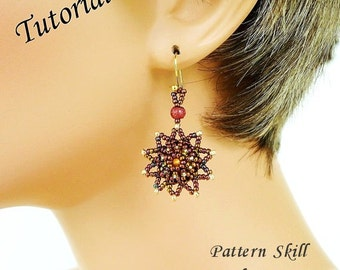 STAR BRIGHT beaded earrings beading tutorial beadweaving pattern seed bead beadwork jewelry beadweaving tutorial beading pattern instruction