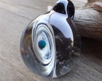 Blue Hand blown glass pendant necklace, galaxy pendant, glass jewelry, Blue  heady pendant, trippy glass pendant, unique pendant for her