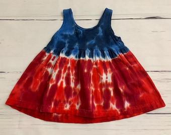 3 Month Baby Red White & Blue Tie Dye Empire Waist Tank Dress
