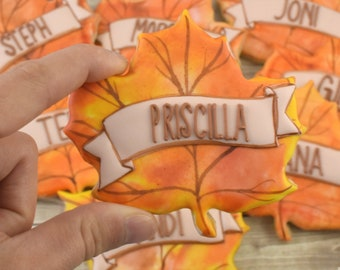 Personalized Fall Leaves Sugar Cookies (Set of Six)