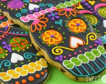 Custom Black Skull Sugar Cookies (Set of Six)
