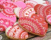 Valentine's Heart Lace Sugar Cookies (Set of Six)