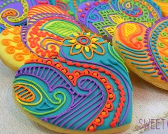 Mehndi Heart Sugar Cookies (Set of Six)