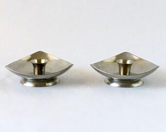 Danish Modern Candle Holders, Stainless Steel, Triangular