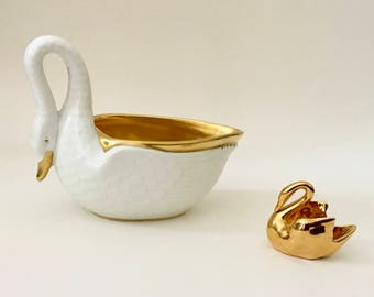 Vintage Pair of Gold Swans, VA Portugal, Vista Alegre, Limoges France