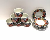 Vintage Georges Briard Tea Coffee Cups Plus Saucers, set of 6, Ancestral Garden