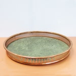 Vintage Copper Bar Tray, Serving Tray, Coppercraft Guild, Green Interior Surface