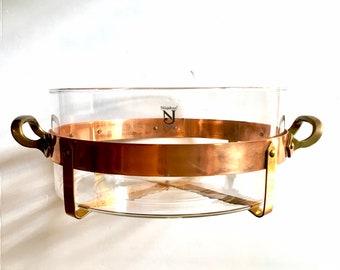 NILSJOHAN! Nilsjohan Sweden Copper and Brass Carrier Holder with a Round Glass Casserole Dish