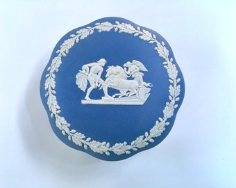 Vintage Blue and White Wedgwood Jasperware Round Covered Box, Jewelry Box, Made in England