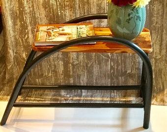 Vintage Black Rattan Rectangular Side Table/End Table